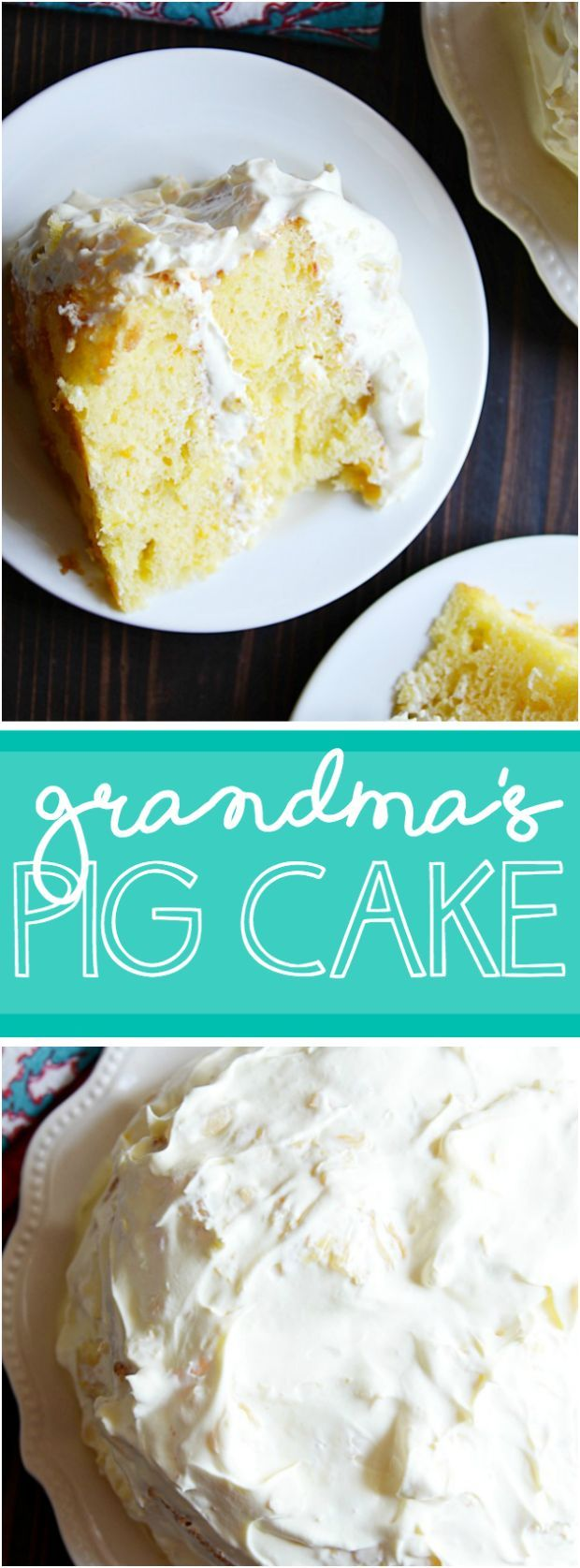 Super moist yellow cake filled with mandarin oranges with a creamy vanilla pineapple whipped topping. It's so good, you'll make a 'pig' of yourself ;)