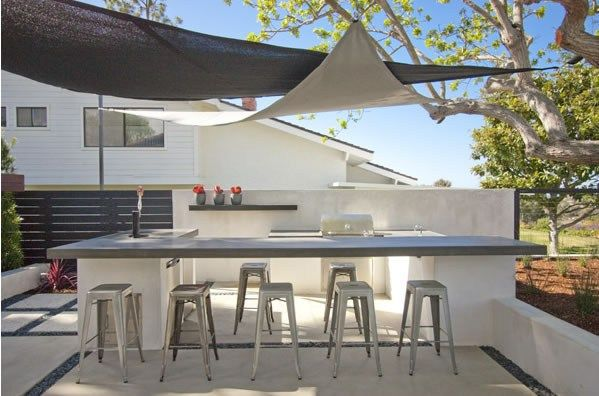 Outdoor kitchen featuring a modern design style.  DC West Construction Inc Carlsbad, CA