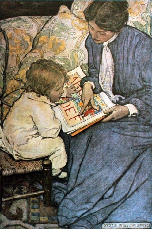 (Jessie Willcox Smith) Het was niet makkelijk voor Renée om te leren lezen, maar wat is ze blij dat ze het kan. Ze noemde haar dochter: Victoria Sophia Wilhelmina Danse - Sophia verwijst naar 'De wereld van Sophie' van Jostein Gaarder, de titel van een boek dat ik haar 's avonds voorlas.