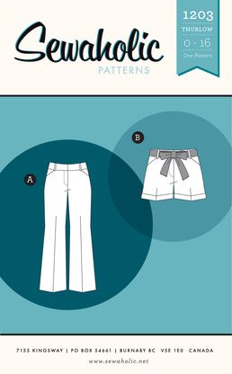 Thurlow Trousers and Shorts sewing pattern by Sewaholic Patterns, modern fit trousers with front pockets, slightly flared leg pants pattern ...