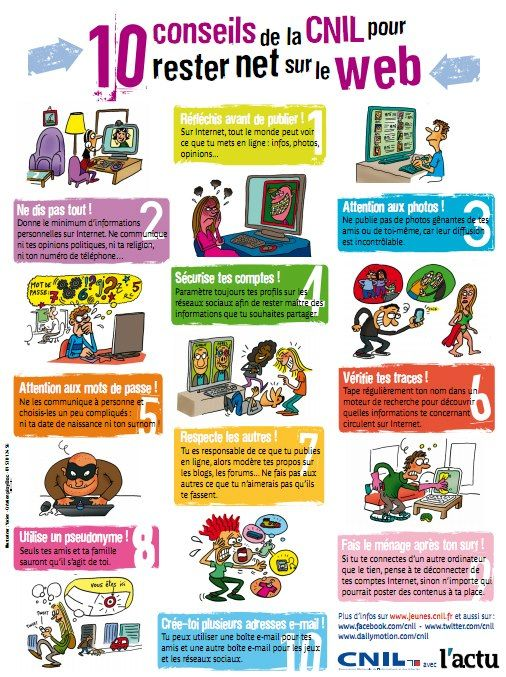 Conseils pour rester net sur le web - Affiche à analyser et discuter en classe