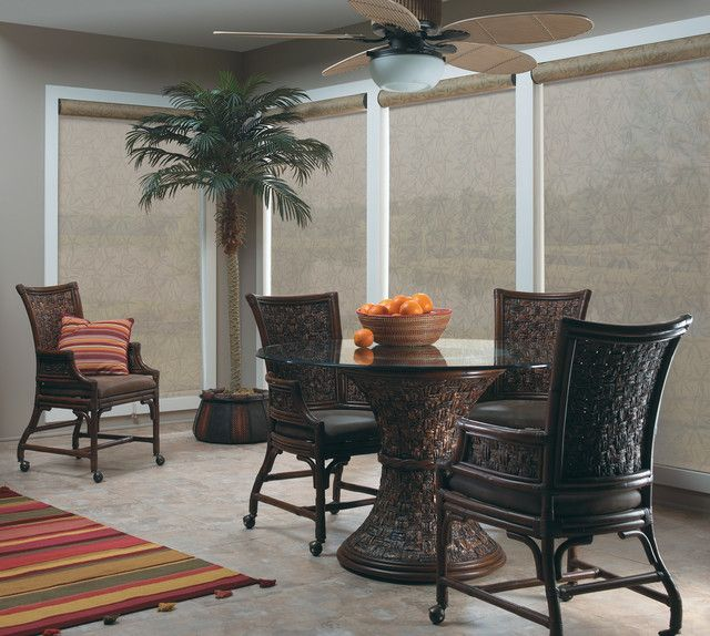 Wonderful Tropical Blinds and Wallpapers : Charming Bali Solar Shade Steppe 7 Openness Tropical Roller Blinds San Diego Also Dark Brown Elegant Rattan Armchairs Also Round Dining Table With Glass Countertop Also Comely Artificial Palm Tree As House Plants