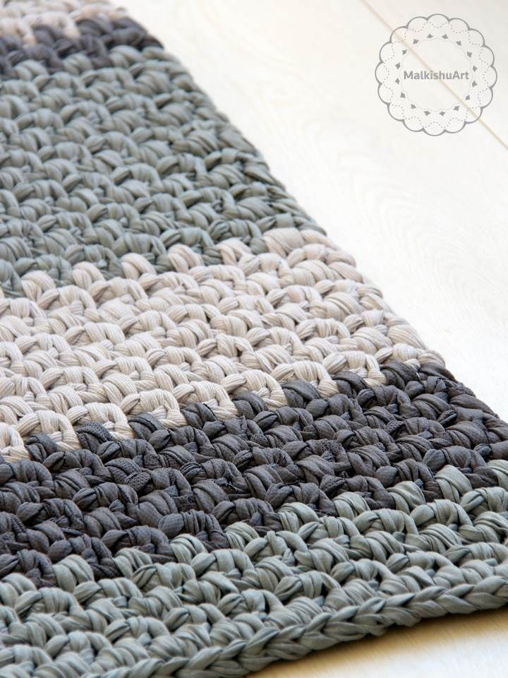Crochet rectangle rug Crochet rug, rag rug, round rug ...