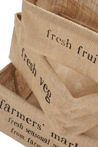 Buy Set Of 3 Hessian Baskets from the Next UK online shop