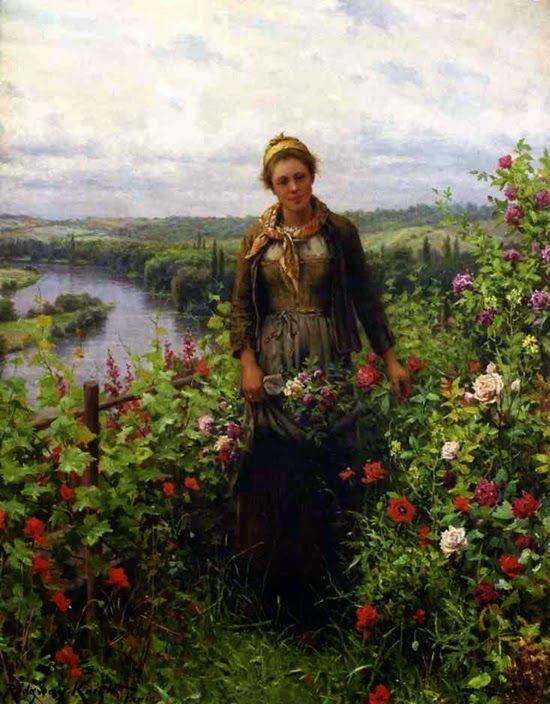 ~ Daniel Ridgway Knight ~ American artist, 1839-1924: A Maid in Her Garden