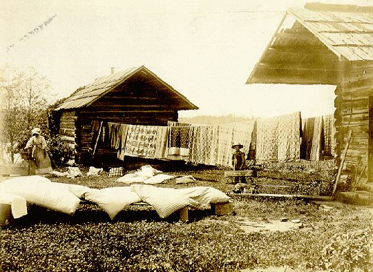 Green Lake, Seattle, c.1900 ~ 19th C. quilts airing by cabin built by Erhard Seigried c. 1869.