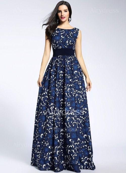 Vestidos Chifón Encaje Floral Hasta los tobillos Sin mangas (1033248) @