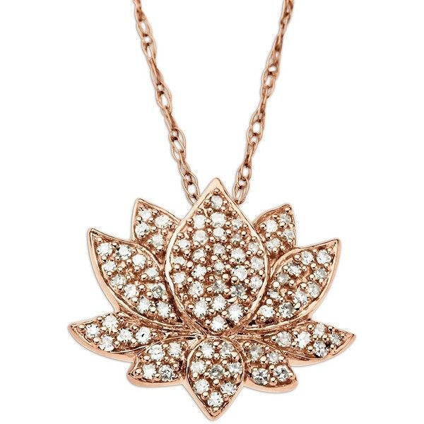 Lord & Taylor 14 Kt. Rose Gold Diamond Lotus Flower Pendant (4.710 DKK) ❤ liked on Polyvore featuring jewelry, pendants, rose gold, chain pendants, flower pendant, flower jewelry, rose gold pendant and rose gold jewelry set