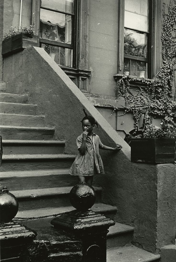 "Louis Draper, ""Untitled (Girl on steps, building with ivy)"" (c. 1965), vintage gelatin silver print, printed c. 1965 14 x 11 inches."