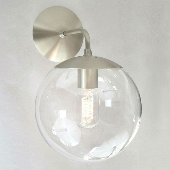 Clear Glass Globe Bathroom Wall Sconces