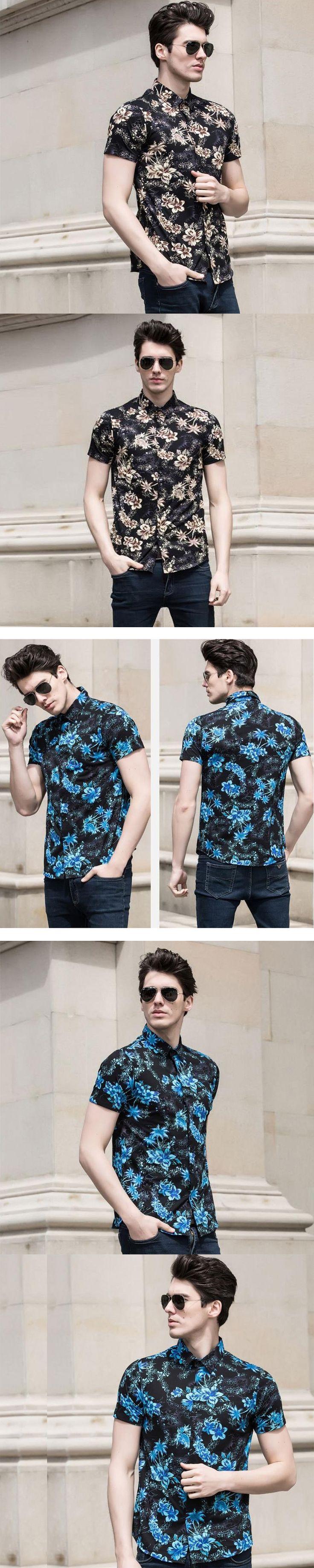 New classic design palm trees men's hawaiian flowers printing summer dress shirt