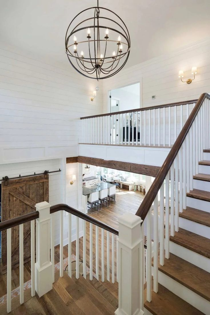Love This Staircase And Entryway With Pendant Light Chandelier Painted White Shiplap And