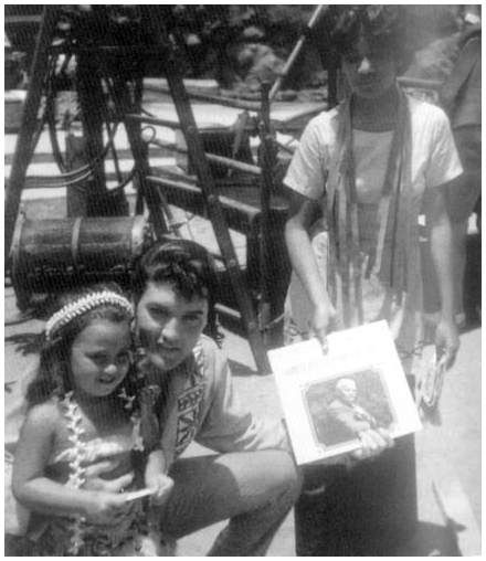 """on set -   Elvis Presley spent one week during August and September timeframe of 1965 at the Polynesian Cultural Center filming a portion of """"Paradise, Hawaiian Style."""""""