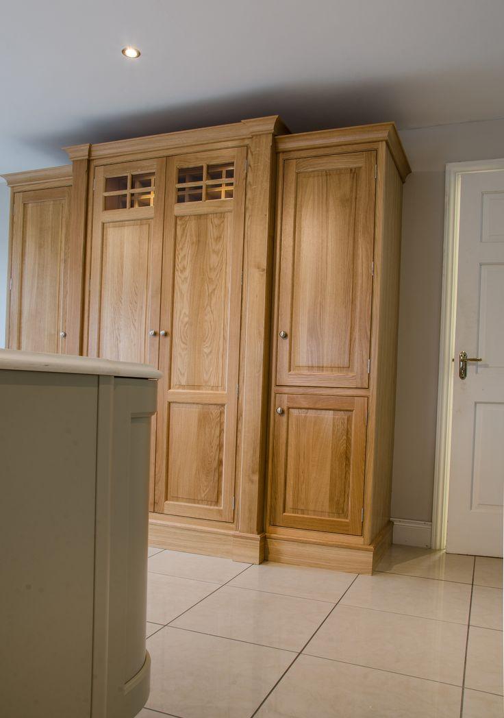 Elegant oak inframe pantry press in Newhaven Kitchens Carlow.