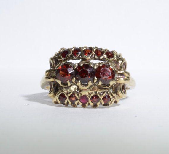 January Stone  Mine Cut Garnet Anniversary Ring by LadyLibertyGold