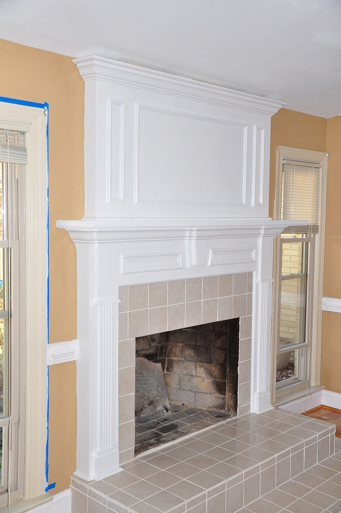 brick fireplace mantel makeover by remodeler in richmond va