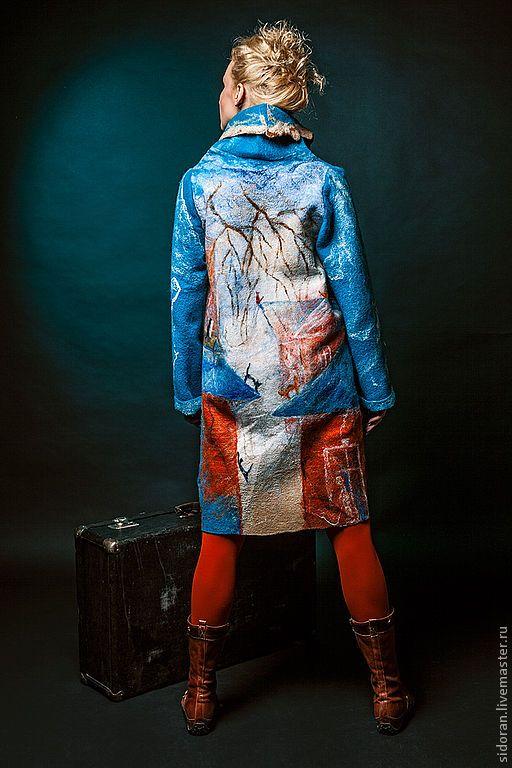 Купить Кошачий блюз - рисунок, пальто женское, пальто из шерсти, в единственном экземпляре, осень