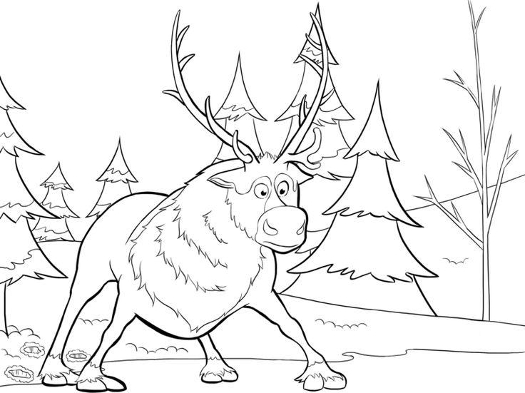 disegni natale per bambini, una grande e impacciata renna