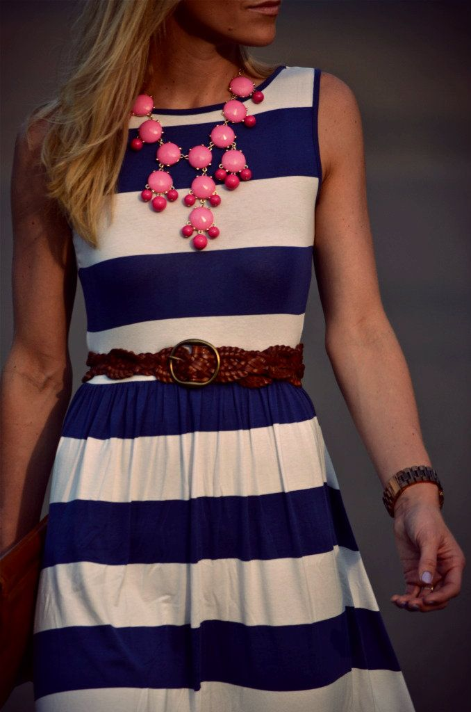 Dress: ASOS, Belt: Gap, Clutch: Tory Burch, two-tone beaded bib necklace by fab'rik Austin