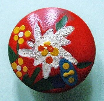 Wood button vintage hand painted pressed wood  by TheLadyatSkiers