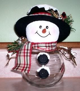 Glass candy jar, styrofoam head, store bought hat and assorted decorations make a cute little snowman. Head comes off to get candy inside.