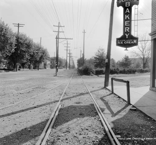 Intersection of Frankfort and Meridian Avenues looking east, St. Matthews, Kentucky, 1933. :: Caufield & Shook Collection