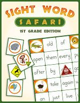 Great sight word board game for young kids.  It includes all the first grade Dolch sight words and it's FREE!