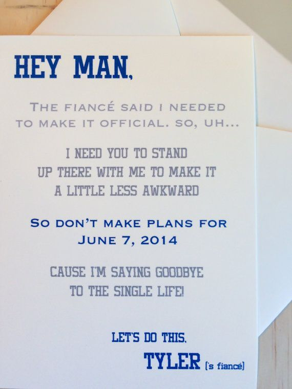 How to ask your #groomsmen - A Witty Letter | CHWV this is so perfect for how Scott's being