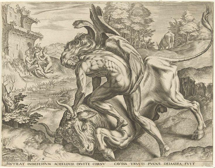 Hercules worstelt met Acheloüs, Cornelis Cort, 1563