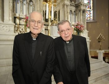 These two priests have 115 years of ordination between them. Though only five years apart in school, they both share similar, yet different enough experiences that lets them work very well together at St. Joesph's in Lancaster