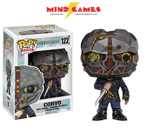 What lengths would you go through to take back what was lost? With the POP Dishonored 2 Corvo Vinyl Figure, help fight off enemies and take back Emily's throne! Based off the award-winning action-adventure stealth video game, the POP Dishonored 2 Corvo Vinyl Figure is now yours to take home. Measuring at just 3 3/4 inches tall, the POP Dishonored 2 Corvo Vinyl Figure features Corvo in his mask and armed with his sword.
