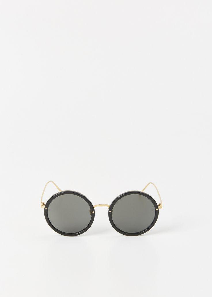Linda Farrow Sunglasses (Black / Yellow Gold / Grey).