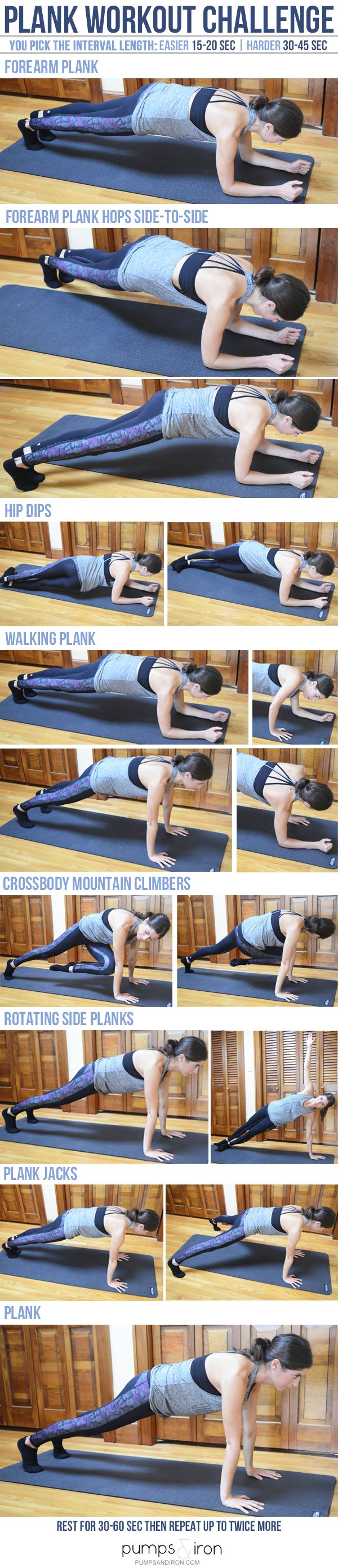Plank Challenge Workout -- pick a starting interval length based on your ability and gradually increase it