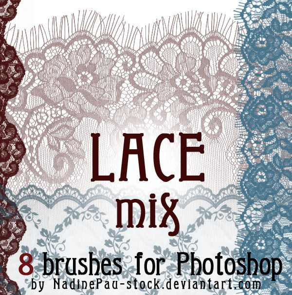 Nadine Pau and her Lace Mix of 8 Photoshop brushes on Deviant Art. #photoshop #brushes #lace_brushes