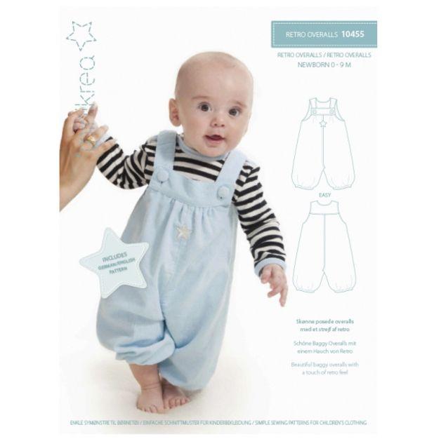 **Einfacher Schnitt _(0 bis 9 Monate) zum nähen einer süßen Baby Latzhose im retro Stil für Jungs und Mädchen von ❤ MINIKREA ❤**   Die dänischen Schnittmuster **JETZT NEU mit DEUTSCHER...