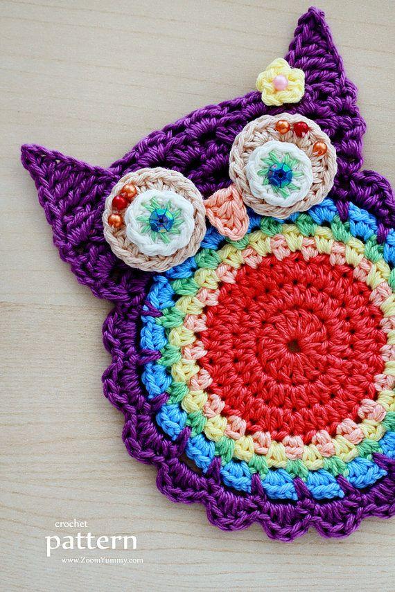 Crochet Owl Coaster for Pinterest