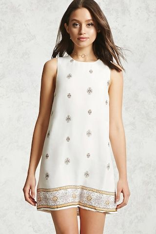 Ornate Print Shift Dress