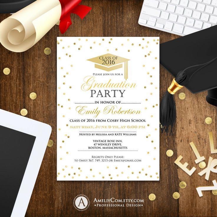Graduation Invitation template printable Gold Confetti - Girl College Graduation announcement instant download High School graduation party
