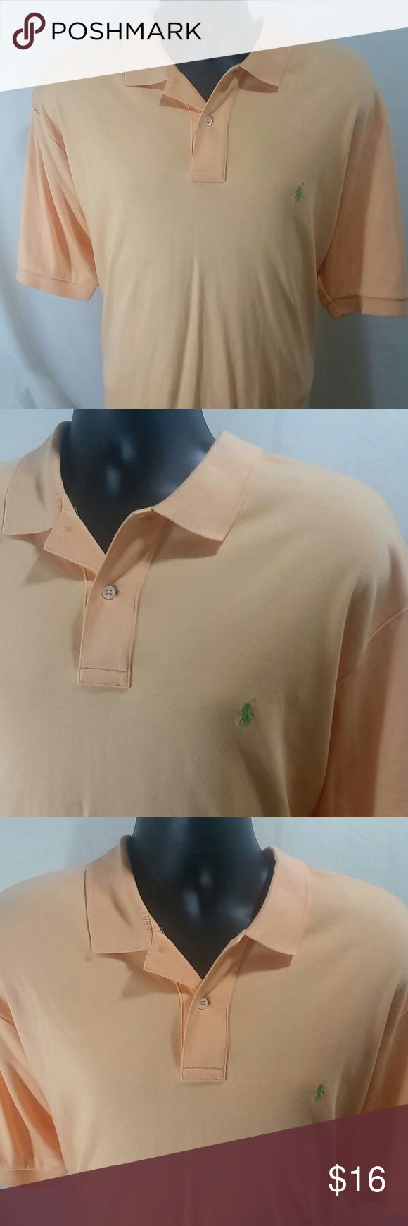 POLO BY RALPH LAUREN  Orange Polo Shirt Size XL Handsome  POLO BY RALPH LAUREN, light orange Polo Shirt.   This Handsome  Shirt is short sleeve,  and is a size XL.   This POLO BY RALPH LAUREN POLO Shirt  is in excellent like new condition. Polo by Ralph Lauren Shirts Polos