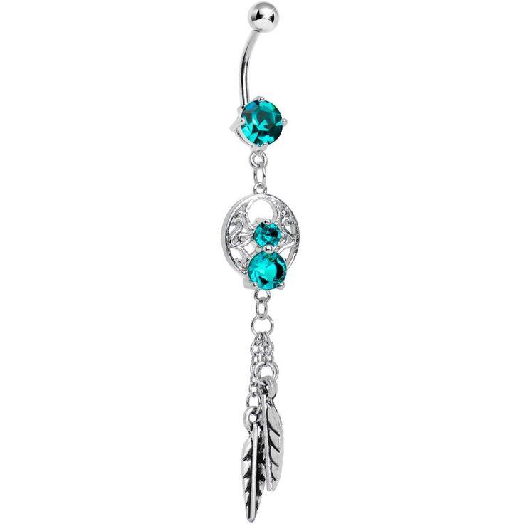 Enchanting Blue Zircon Gem Dangle Dreamcatcher Belly Ring