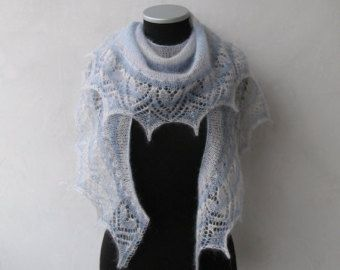 Hand knitted crescent shaped shawlette with hearts lace border