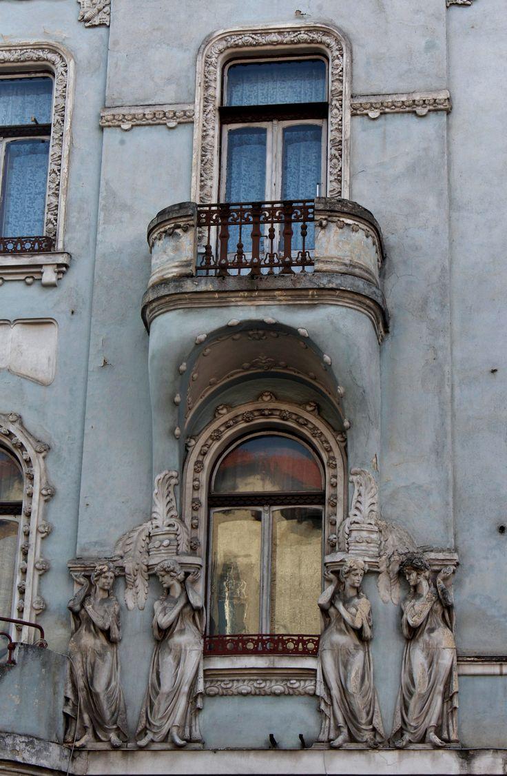 Cluj-Napoca, Jud. Cluj, Romania | Bulevardul Eroilor near Str. Baba Novac... beautiful pastel blue, with intricate statuary and balconies