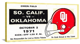 The best football gifts like this 1971 USC vs. OU Canvas Sports Ticket.™ Check out hundreds of football gifts at http://www.shop.47straightposters.com/1971-USC-vs-OKLAHOMA-Football-Ticket-Art-71OU-USC.htm