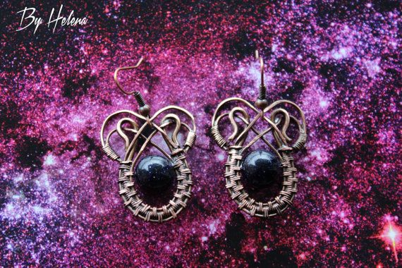 Its special earrings with space within. They are made of natural stone - aventurine. This jewelry is made of copper in wire wrap technique. They