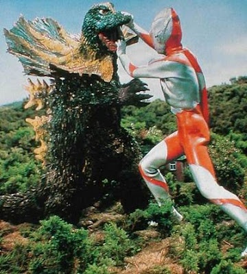 Ultraman fights Jirass (who is actually Godzilla incognito).