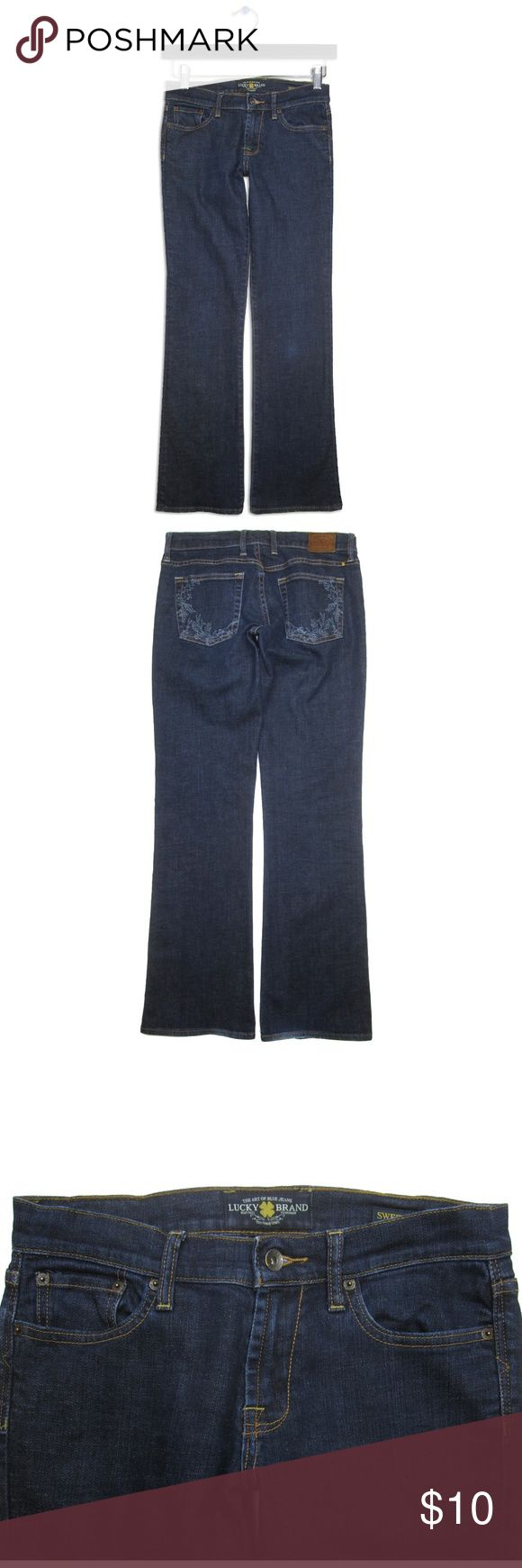 "Lucky Brand Sz 4 27 Sweet' N Low Boot Cut Jeans Lucky Brand Sz 4/27 Sweet' N Low Jean 5-pocket Embroidery on back pockets Dark blue Stretch Cotton/Spandex  Measurements (lying flat):  16"" Waist 18.5"" Hips 8"" Rise 10.5"" Thigh 8"" Knee 9.25"" Leg Opening 33"" Inseam  Great preowned condition except for a small lightened spot on the left knee. Lucky Brand Jeans Boot Cut"