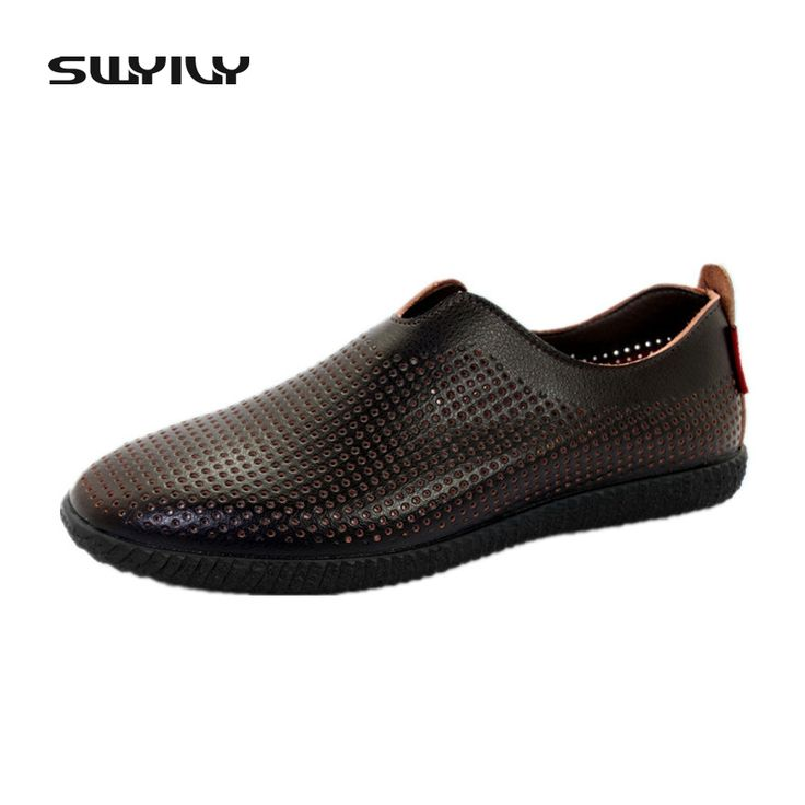 Genuine Leather Mens Sandals Europe And America Spring & Summer Casual Shoes Slip on Breathable Hollow Out Hole Male Shoes