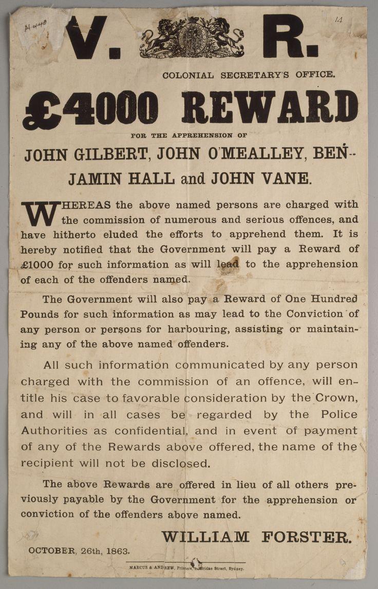 Wanted notice for the Ben Hall bushranger gang