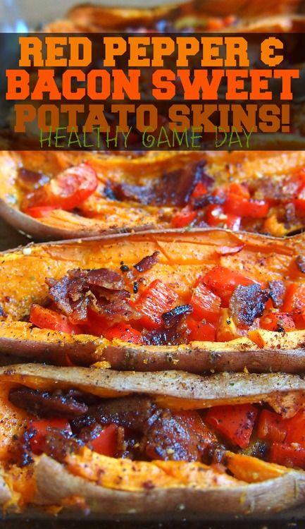& Bacon Sweet Potato Skins! #PALEO | My Blog! | Pinterest | Bacon ...