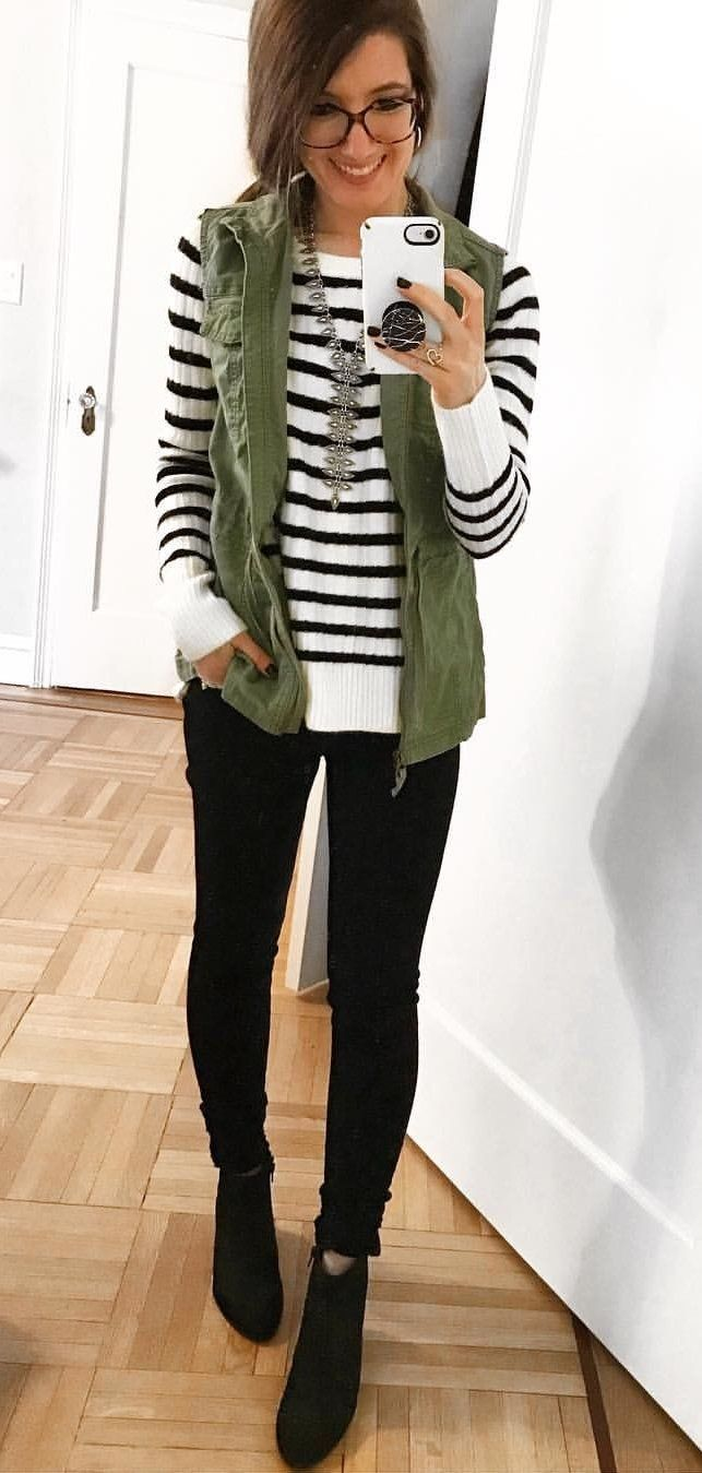 edcd6619aed  fall  outfits women s white and black pinstripes long-sleeve shirt. Click  To Shop This Look.